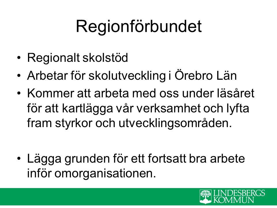 Regionförbundet Regionalt skolstöd Arbetar för skolutveckling i Örebro Län Kommer att arbeta med oss under läsåret för att kartlägga vår verksamhet oc