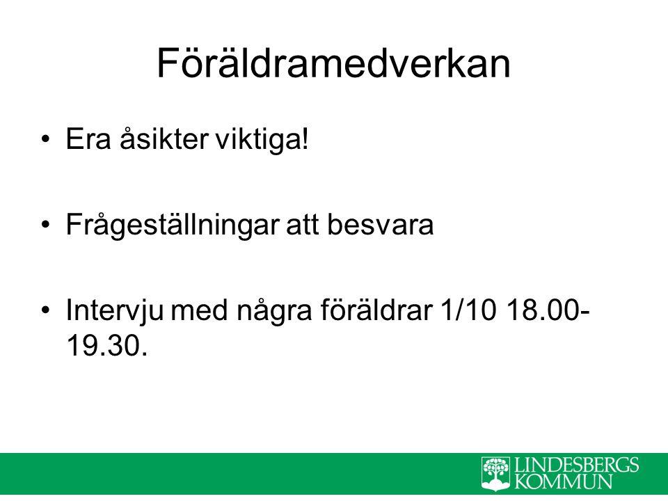 Föräldramedverkan Era åsikter viktiga! Frågeställningar att besvara Intervju med några föräldrar 1/10 18.00- 19.30.