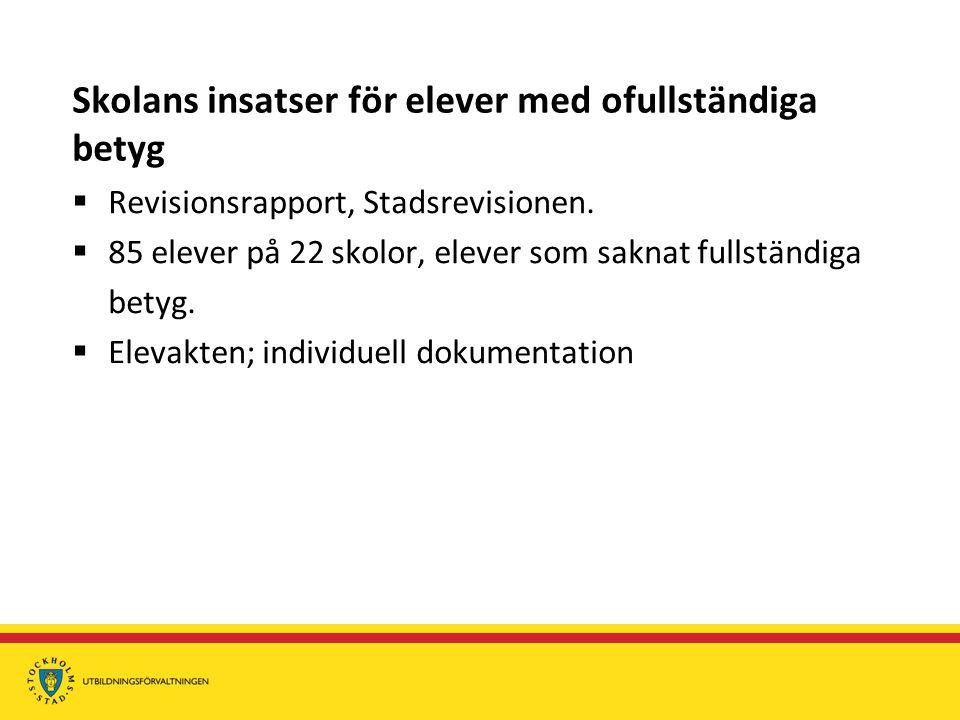 Skolans insatser för elever med ofullständiga betyg  Revisionsrapport, Stadsrevisionen.