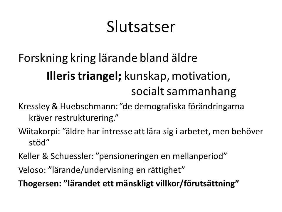 """Slutsatser Forskning kring lärande bland äldre Illeris triangel; kunskap, motivation, socialt sammanhang Kressley & Huebschmann: """"de demografiska förä"""
