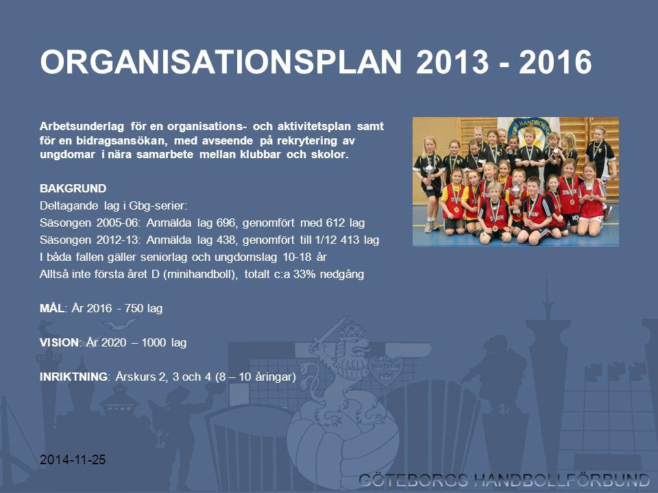2014-11-25 ORGANISATIONSPLAN 2013 - 2016 Arbetsunderlag för en organisations- och aktivitetsplan samt för en bidragsansökan, med avseende på rekryteri