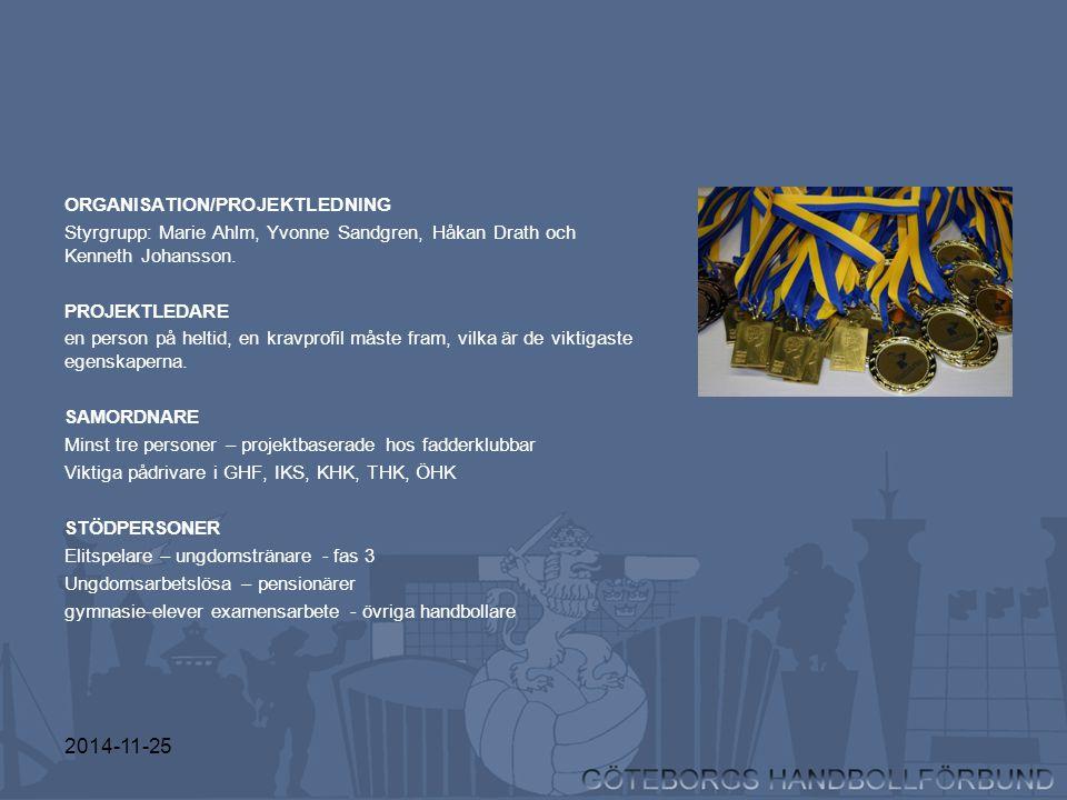 2014-11-25 ORGANISATION/PROJEKTLEDNING Styrgrupp: Marie Ahlm, Yvonne Sandgren, Håkan Drath och Kenneth Johansson. PROJEKTLEDARE en person på heltid, e