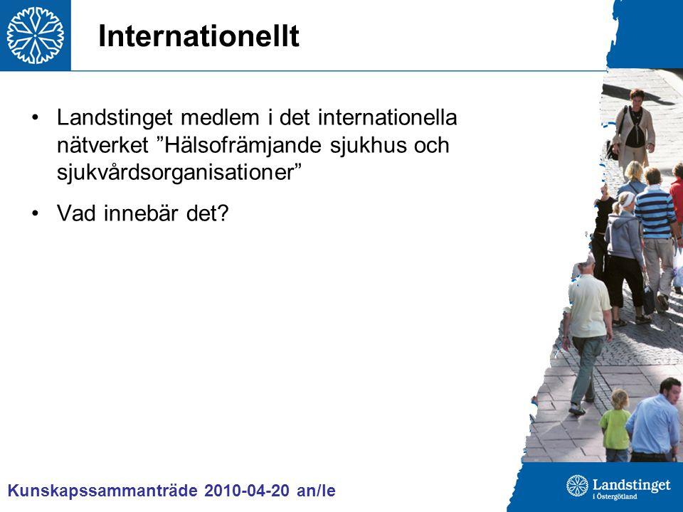 Internationellt Landstinget medlem i det internationella nätverket Hälsofrämjande sjukhus och sjukvårdsorganisationer Vad innebär det.