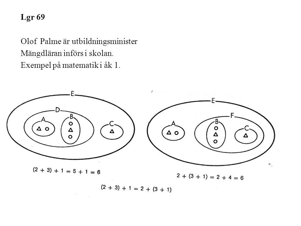 Lgr 69 Olof Palme är utbildningsminister Mängdläran införs i skolan. Exempel på matematik i åk 1.
