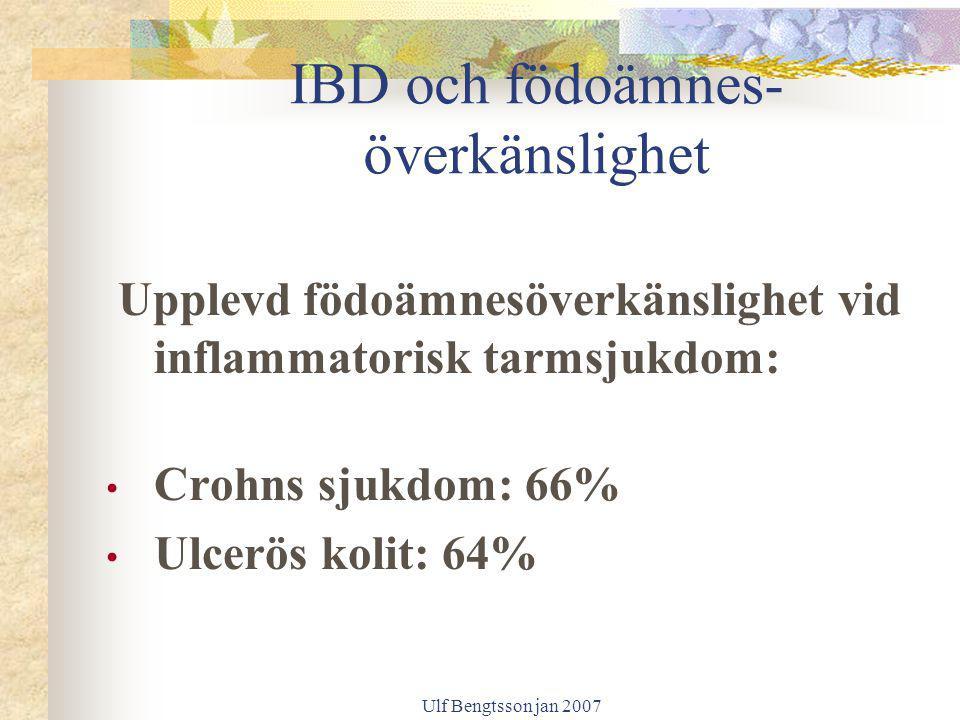 Ulf Bengtsson jan 2007 IBD och födoämnes- överkänslighet Upplevd födoämnesöverkänslighet vid inflammatorisk tarmsjukdom: Crohns sjukdom: 66% Ulcerös k