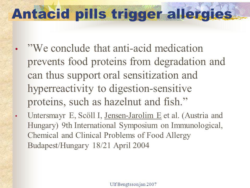 """Ulf Bengtsson jan 2007 """"We conclude that anti-acid medication prevents food proteins from degradation and can thus support oral sensitization and hype"""