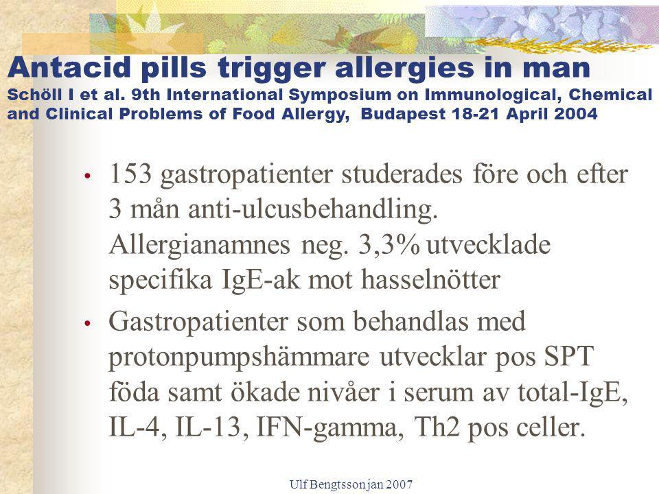 Ulf Bengtsson jan 2007 153 gastropatienter studerades före och efter 3 mån anti-ulcusbehandling. Allergianamnes neg. 3,3% utvecklade specifika IgE-ak