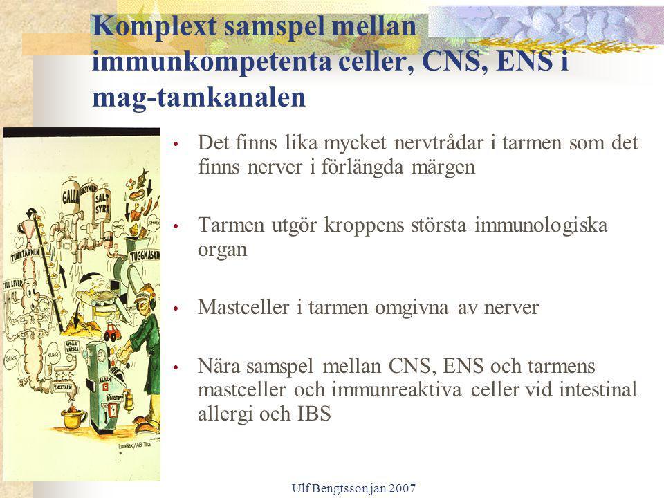 Ulf Bengtsson jan 2007 Komplext samspel mellan immunkompetenta celler, CNS, ENS i mag-tamkanalen Det finns lika mycket nervtrådar i tarmen som det fin