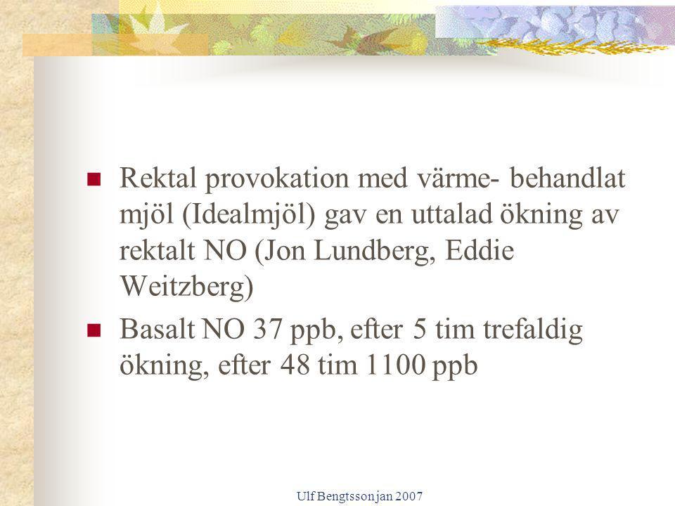 Ulf Bengtsson jan 2007 Rektal provokation med värme- behandlat mjöl (Idealmjöl) gav en uttalad ökning av rektalt NO (Jon Lundberg, Eddie Weitzberg) Ba
