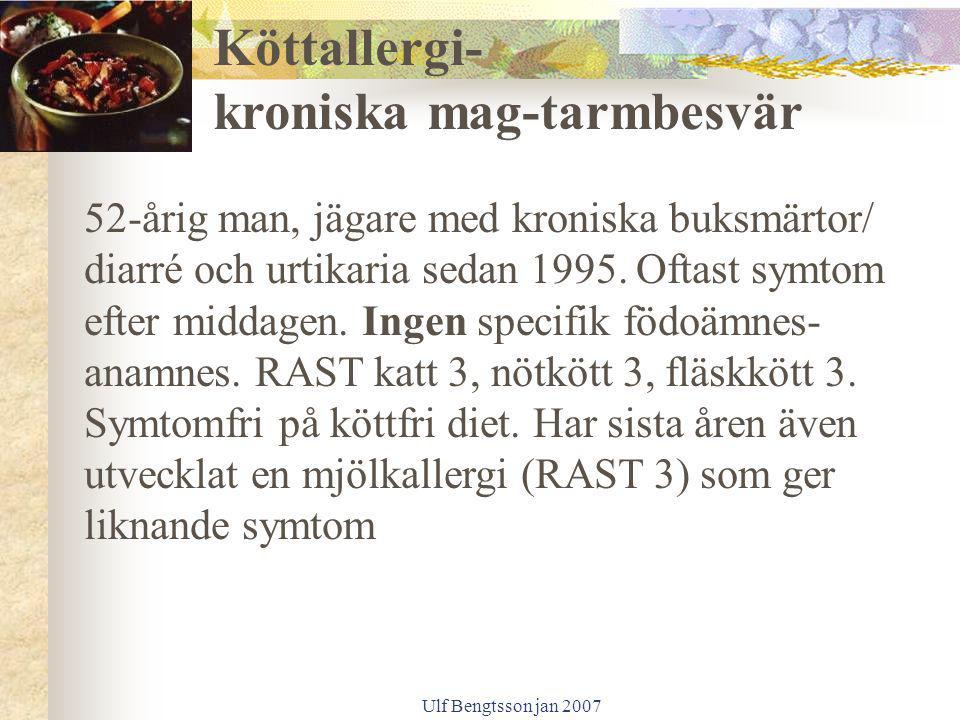 Ulf Bengtsson jan 2007 52-årig man, jägare med kroniska buksmärtor/ diarré och urtikaria sedan 1995. Oftast symtom efter middagen. Ingen specifik födo