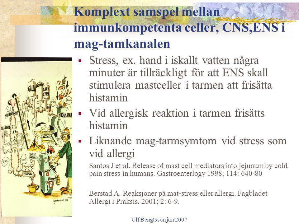 Ulf Bengtsson jan 2007 Komplext samspel mellan immunkompetenta celler, CNS,ENS i mag-tamkanalen  Stress, ex. hand i iskallt vatten några minuter är t