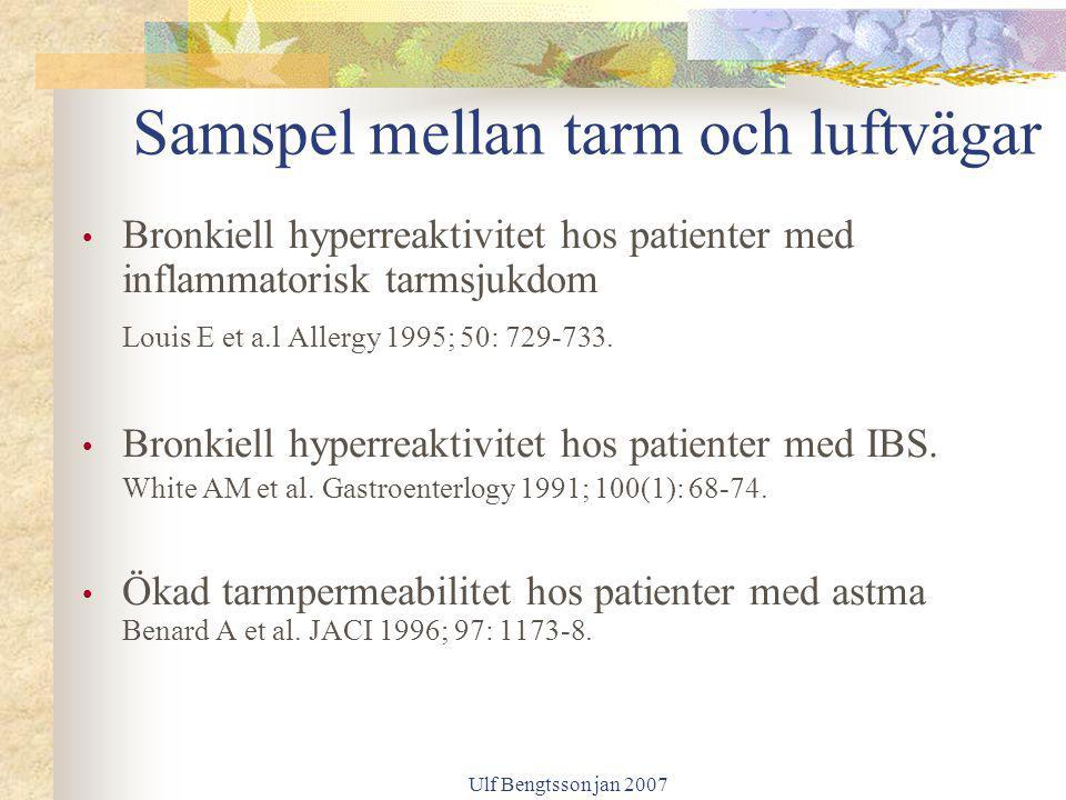 Ulf Bengtsson jan 2007 Samspel mellan tarm och luftvägar Bronkiell hyperreaktivitet hos patienter med inflammatorisk tarmsjukdom Louis E et a.l Allerg