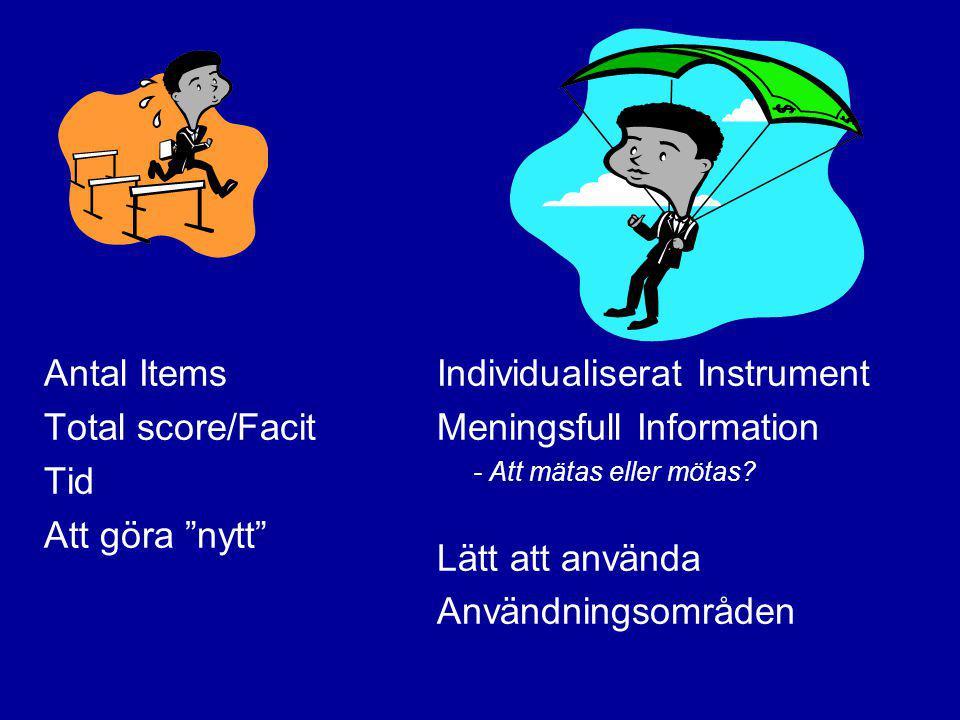 """Antal Items Total score/Facit Tid Att göra """"nytt"""" Individualiserat Instrument Meningsfull Information - Att mätas eller mötas? Lätt att använda Använd"""