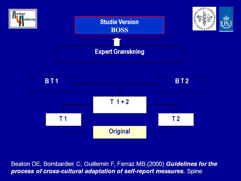 Original T 1T 2 T 1 + 2 B T 1B T 2 Expert Granskning Studie Version BOSS Beaton DE, Bombardier C, Guillemin F, Ferraz MB.(2000) Guidelines for the pro