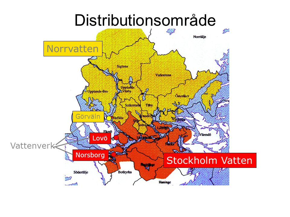 Distributionsområde Norrvatten Stockholm Vatten Görväln Lovö Norsborg Vattenverk