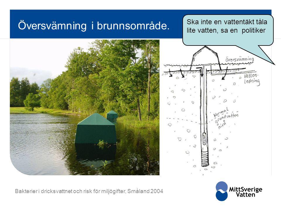 Översvämning i brunnsområde. Bakterier i dricksvattnet och risk för miljögifter, Småland 2004 Ska inte en vattentäkt tåla lite vatten, sa en politiker