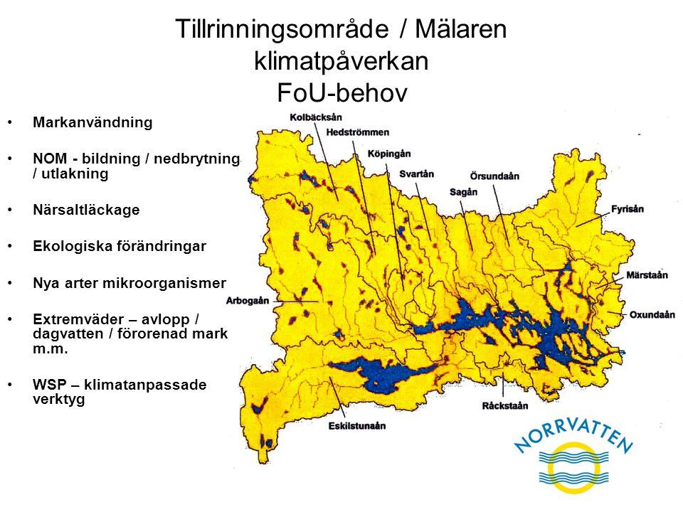 Tillrinningsområde / Mälaren klimatpåverkan FoU-behov Markanvändning NOM - bildning / nedbrytning / utlakning Närsaltläckage Ekologiska förändringar N