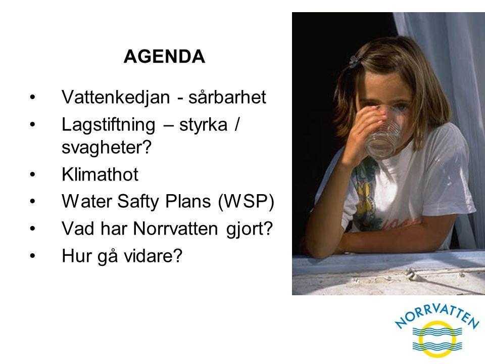 AGENDA Vattenkedjan - sårbarhet Lagstiftning – styrka / svagheter? Klimathot Water Safty Plans (WSP) Vad har Norrvatten gjort? Hur gå vidare?