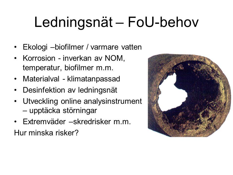 Ledningsnät – FoU-behov Ekologi –biofilmer / varmare vatten Korrosion - inverkan av NOM, temperatur, biofilmer m.m. Materialval - klimatanpassad Desin