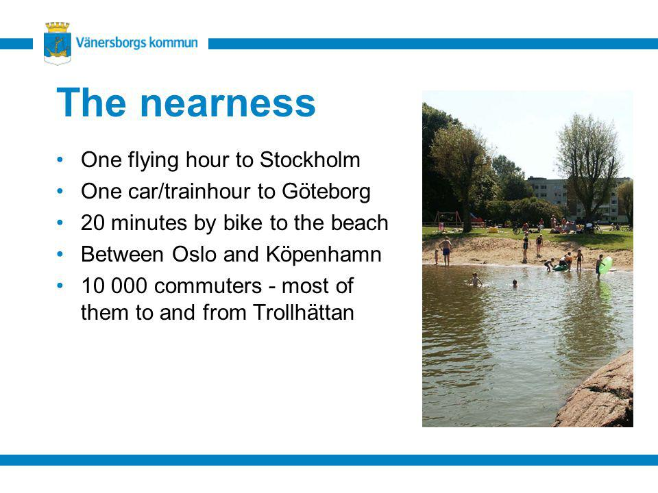 The nearness One flying hour to Stockholm One car/trainhour to Göteborg 20 minutes by bike to the beach Between Oslo and Köpenhamn 10 000 commuters -