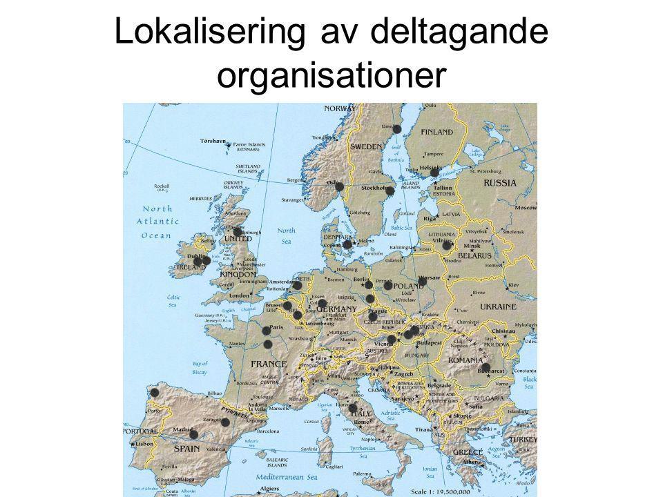Lokalisering av deltagande organisationer