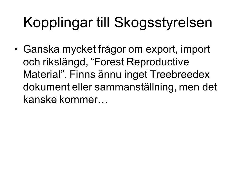"""Kopplingar till Skogsstyrelsen Ganska mycket frågor om export, import och rikslängd, """"Forest Reproductive Material"""". Finns ännu inget Treebreedex doku"""