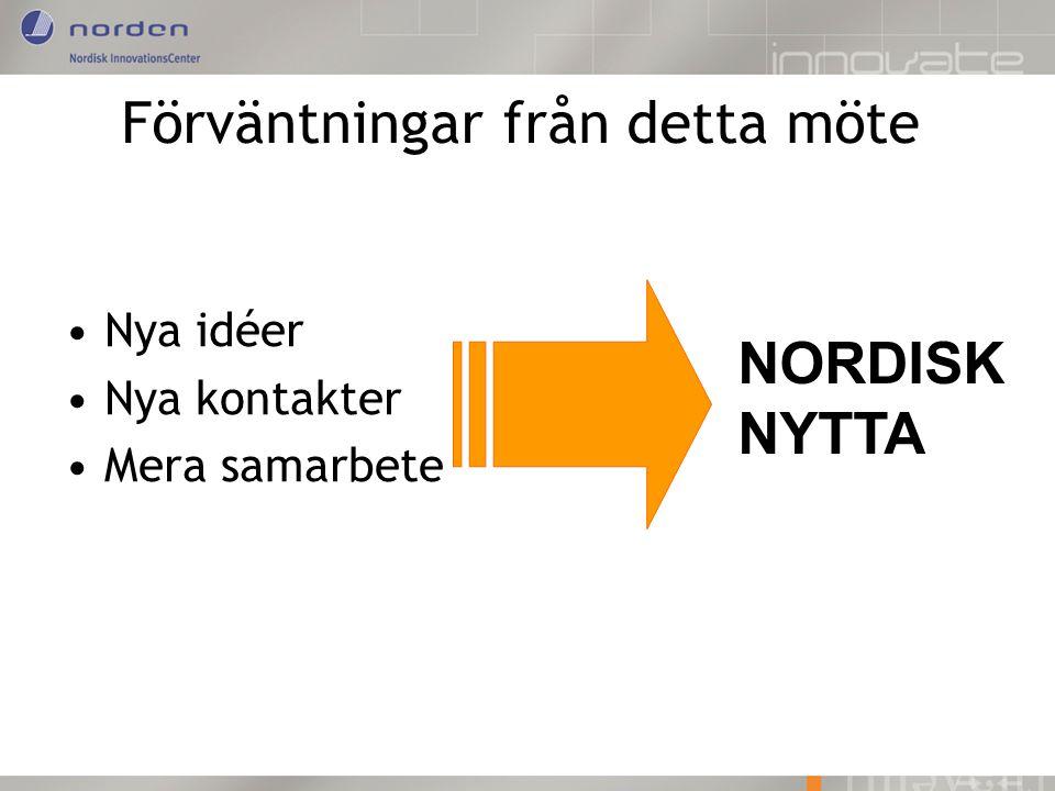 Förväntningar från detta möte Nya idéer Nya kontakter Mera samarbete NORDISK NYTTA