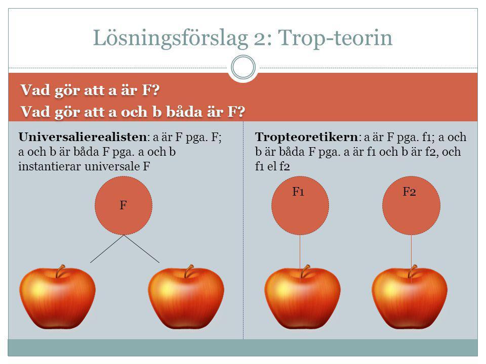 Vad gör att a är F? Vad gör att a och b båda är F? Vad gör att a är F? Vad gör att a och b båda är F? Lösningsförslag 2: Trop-teorin F Universaliereal