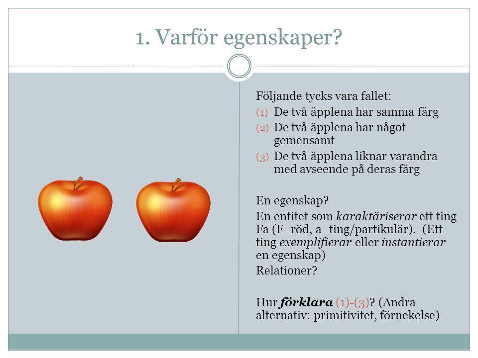 1. Varför egenskaper? Följande tycks vara fallet: (1) De två äpplena har samma färg (2) De två äpplena har något gemensamt (3) De två äpplena liknar v