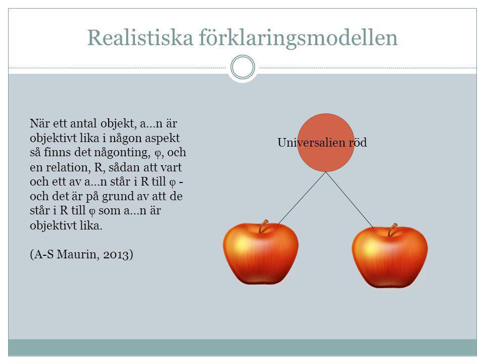 Realistiska förklaringsmodellen Universalien röd När ett antal objekt, a…n är objektivt lika i någon aspekt så finns det någonting, , och en relation