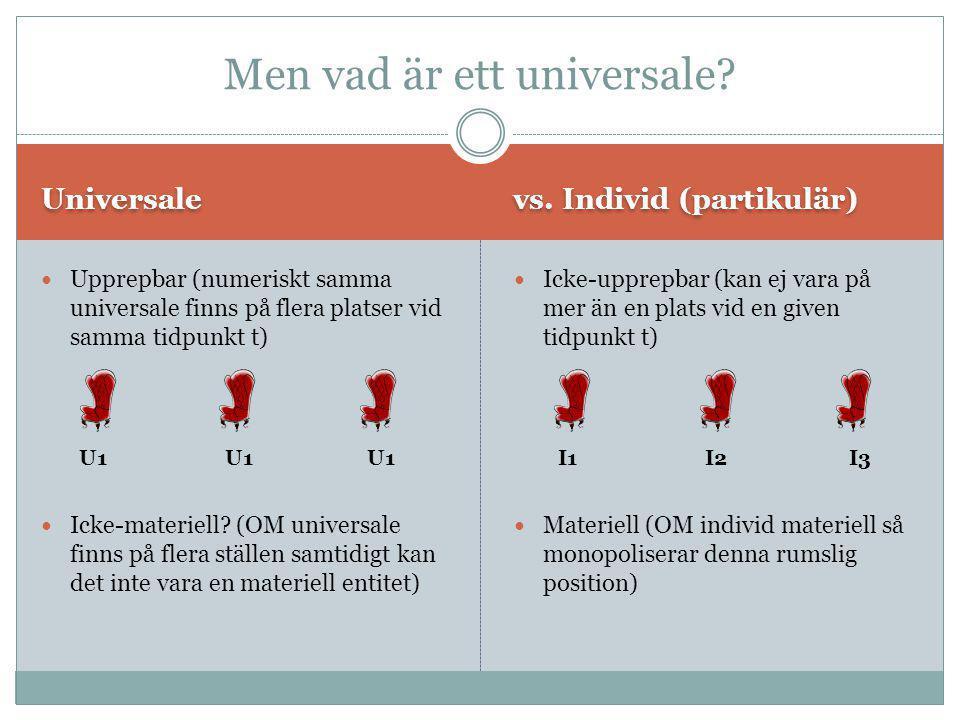 Vilka universalier existerar.Maximalism: ALLA universalier existerar.