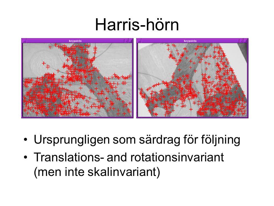 Harris-hörn Ursprungligen som särdrag för följning Translations- and rotationsinvariant (men inte skalinvariant)