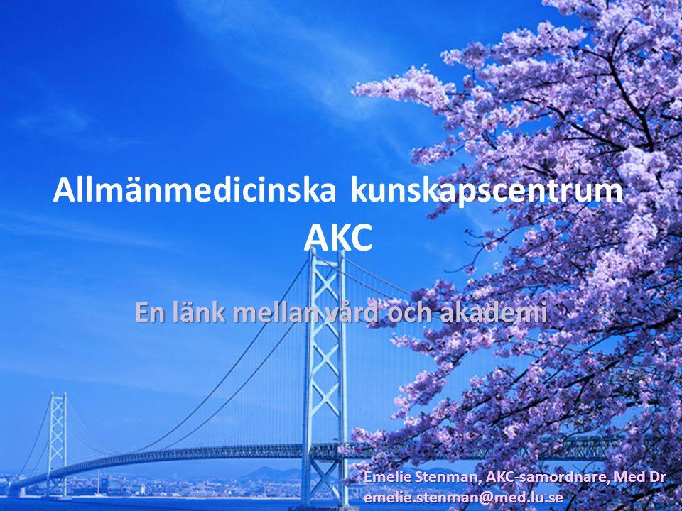 201020112012 Vetenskapliga artiklar 89135143 Forskningsledare2814 Doktorander182529 Disputationer023 Verksamhetsrapport CPF och AKC …Och totalt ca 50 personer med doktorsexamen, varav ca 35 läkare, i Skånes primärvård