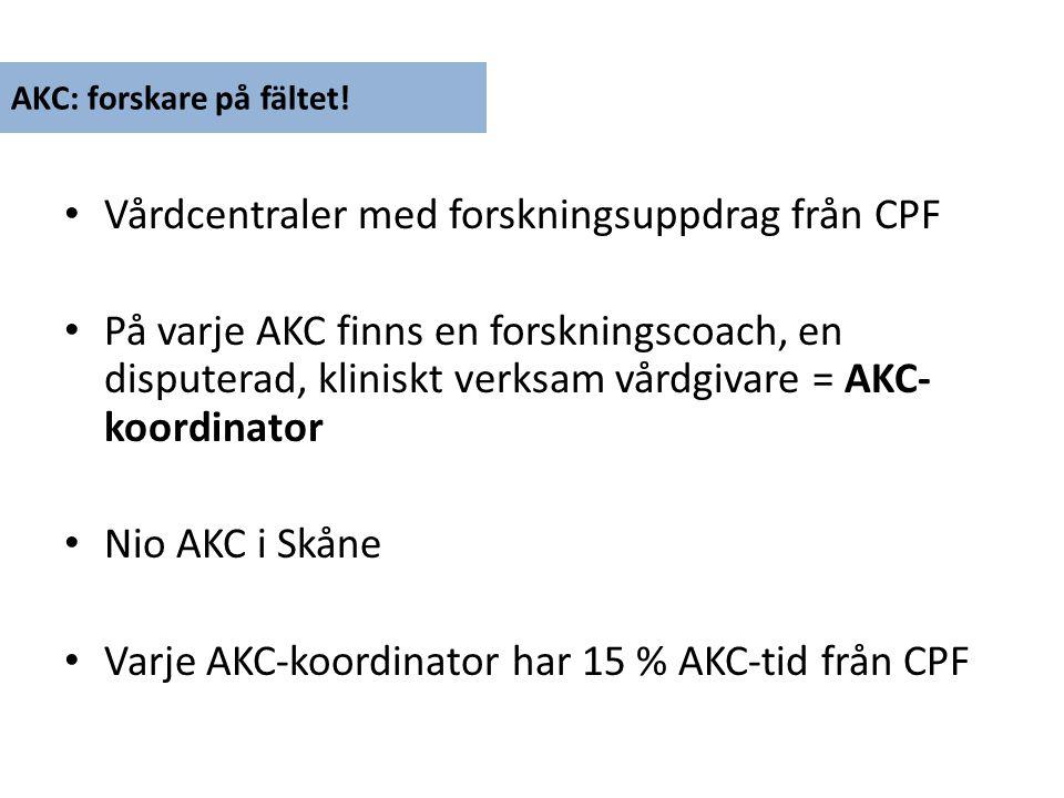 Vårdcentraler med forskningsuppdrag från CPF På varje AKC finns en forskningscoach, en disputerad, kliniskt verksam vårdgivare = AKC- koordinator Nio