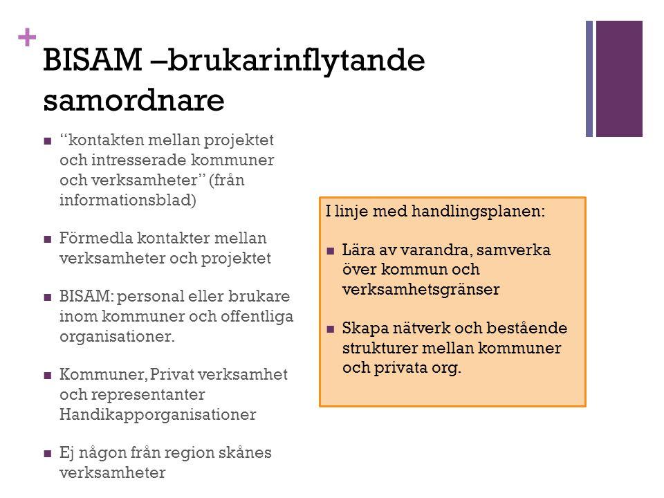 + BISAM –brukarinflytande samordnare kontakten mellan projektet och intresserade kommuner och verksamheter (från informationsblad) Förmedla kontakter mellan verksamheter och projektet BISAM: personal eller brukare inom kommuner och offentliga organisationer.