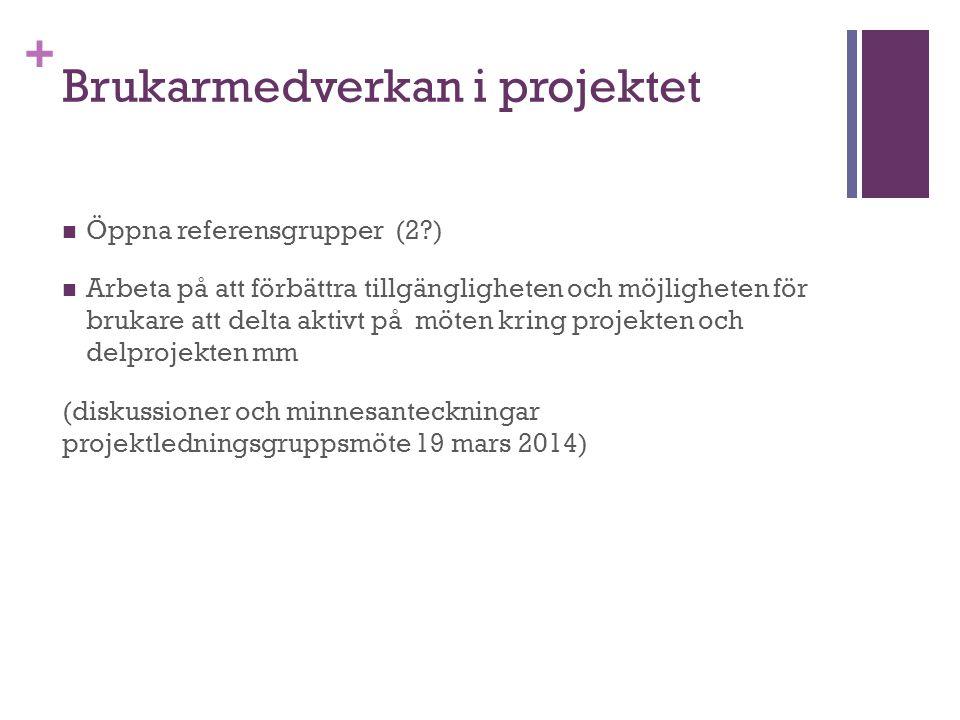 + Brukarmedverkan i projektet Öppna referensgrupper (2 ) Arbeta på att förbättra tillgängligheten och möjligheten för brukare att delta aktivt på möten kring projekten och delprojekten mm (diskussioner och minnesanteckningar projektledningsgruppsmöte 19 mars 2014)