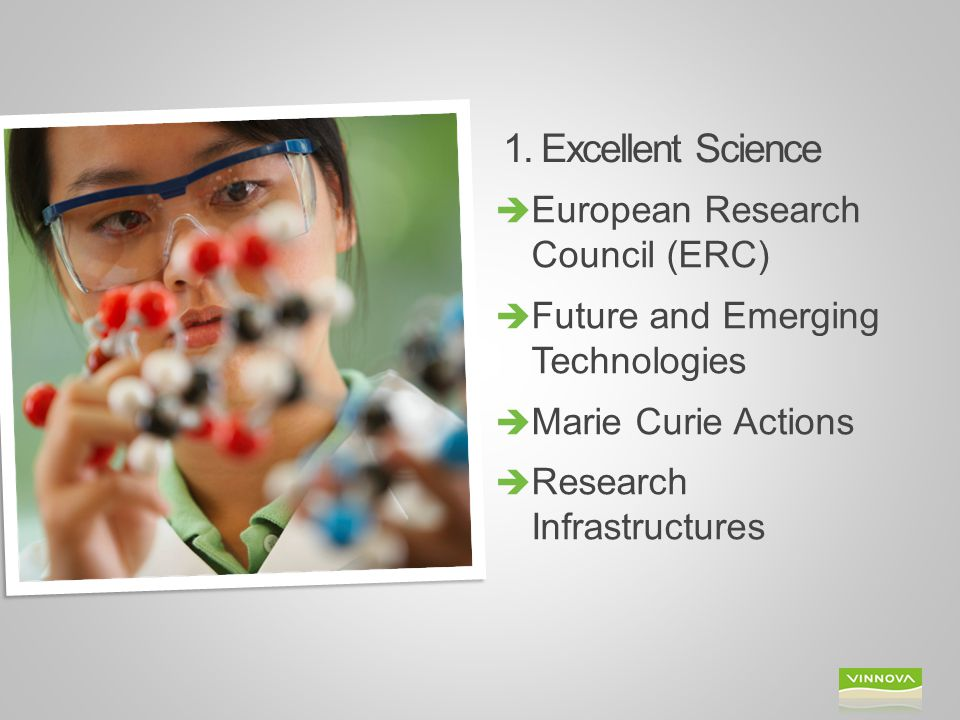 1. Excellent Science  European Research Council (ERC)  Future and Emerging Technologies  Marie Curie Actions  Research Infrastructures