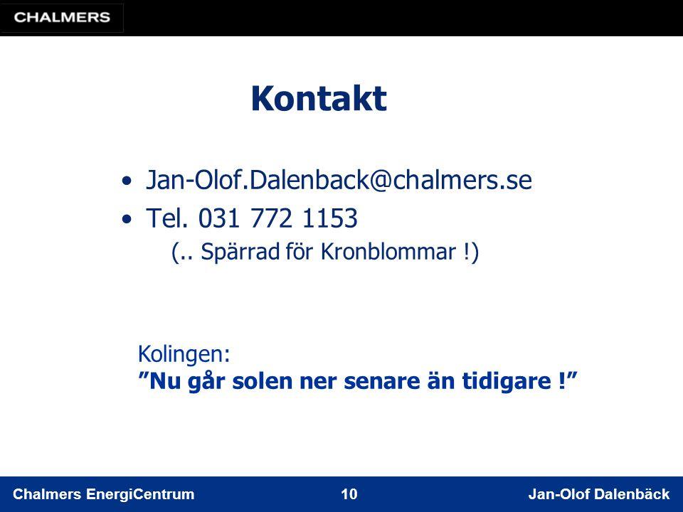 Chalmers EnergiCentrum 10 Jan-Olof Dalenbäck Kontakt Jan-Olof.Dalenback@chalmers.se Tel.