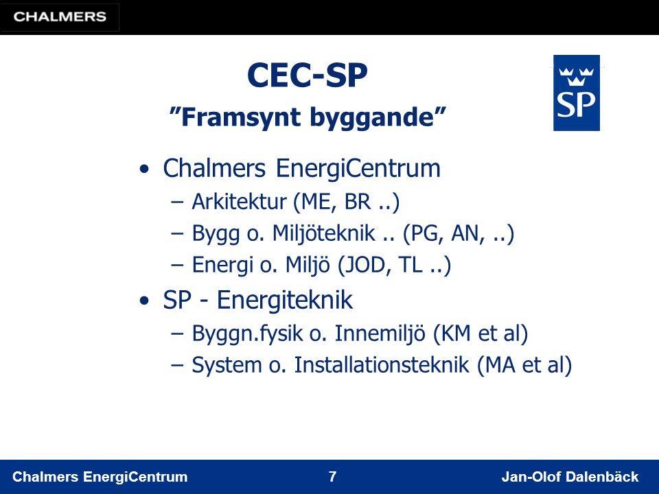 Chalmers EnergiCentrum 7 Jan-Olof Dalenbäck CEC-SP Framsynt byggande Chalmers EnergiCentrum –Arkitektur (ME, BR..) –Bygg o.