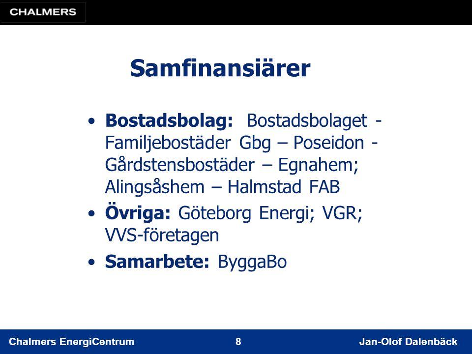 Chalmers EnergiCentrum 8 Jan-Olof Dalenbäck Samfinansiärer Bostadsbolag: Bostadsbolaget - Familjebostäder Gbg – Poseidon - Gårdstensbostäder – Egnahem; Alingsåshem – Halmstad FAB Övriga: Göteborg Energi; VGR; VVS-företagen Samarbete: ByggaBo