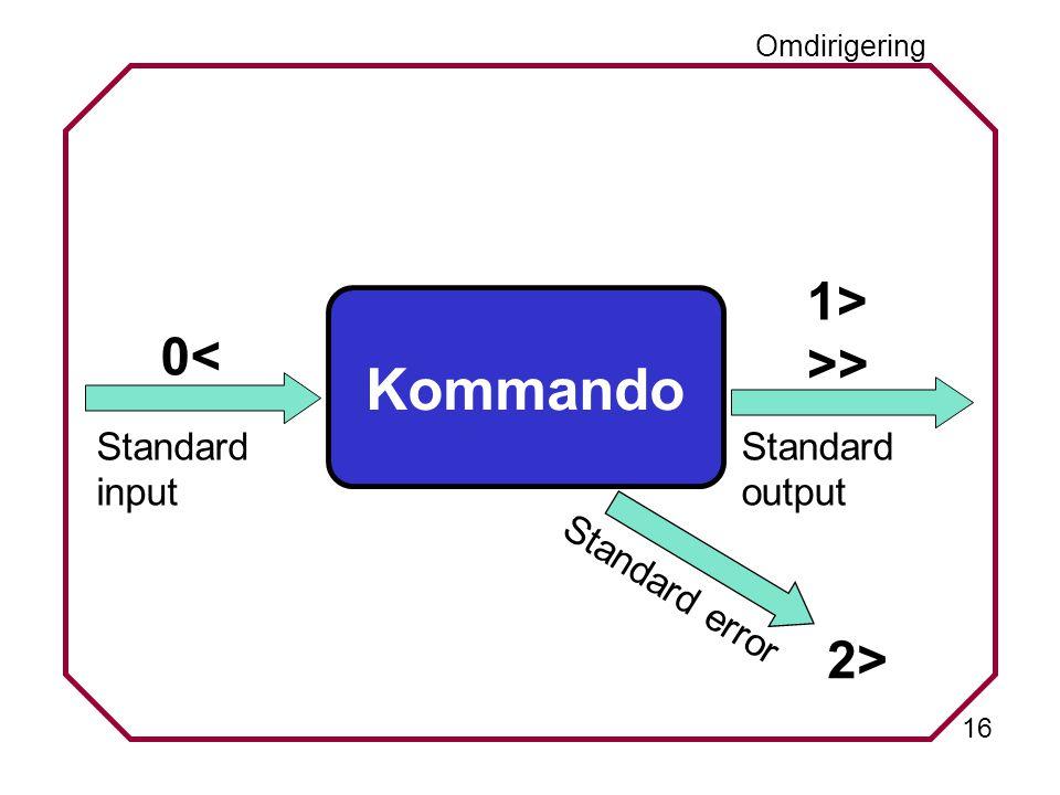 16 Standard error Omdirigering Standard input 0< Standard output 1> >> 2> Kommando