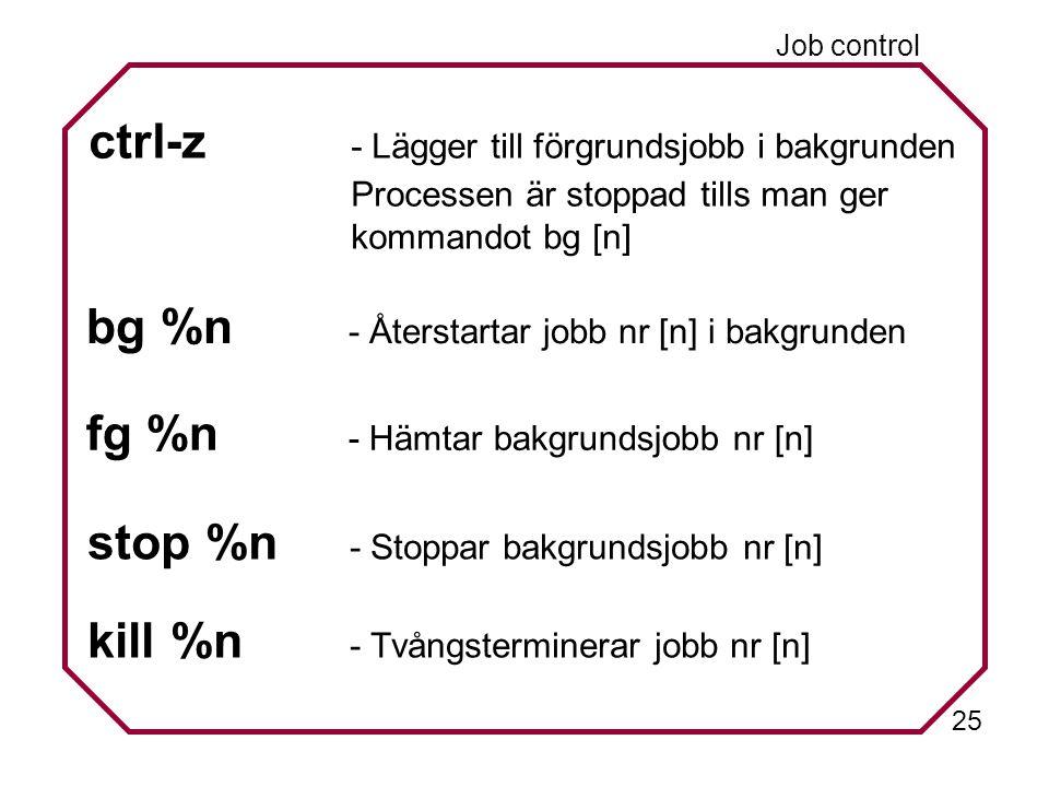 25 ctrl-z - Lägger till förgrundsjobb i bakgrunden Processen är stoppad tills man ger kommandot bg [n] bg %n - Återstartar jobb nr [n] i bakgrunden fg %n - Hämtar bakgrundsjobb nr [n] stop %n - Stoppar bakgrundsjobb nr [n] kill %n - Tvångsterminerar jobb nr [n] Job control