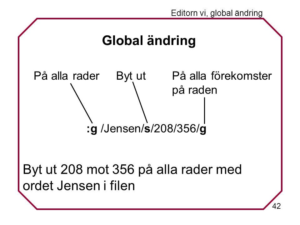 42 Editorn vi, global ändring Global ändring På alla raderByt utPå alla förekomster på raden :g /Jensen/s/208/356/g Byt ut 208 mot 356 på alla rader med ordet Jensen i filen