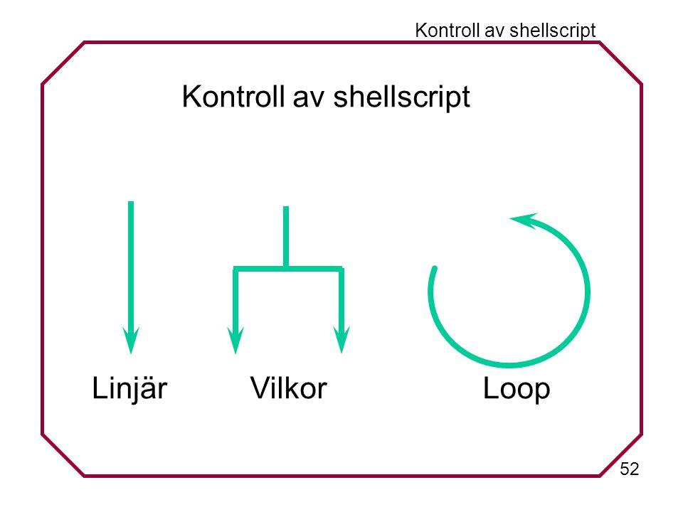 52 Kontroll av shellscript Linjär Vilkor Loop