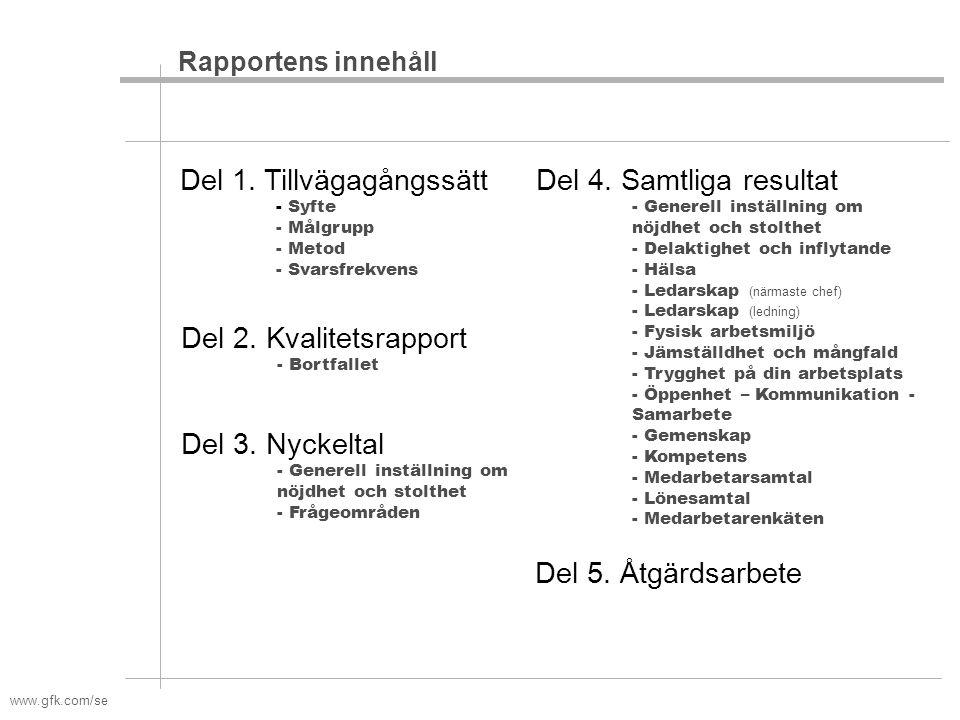 www.gfk.com/se Rapportens innehåll Del 1. Tillvägagångssätt - Syfte - Målgrupp - Metod - Svarsfrekvens Del 4. Samtliga resultat - Generell inställning