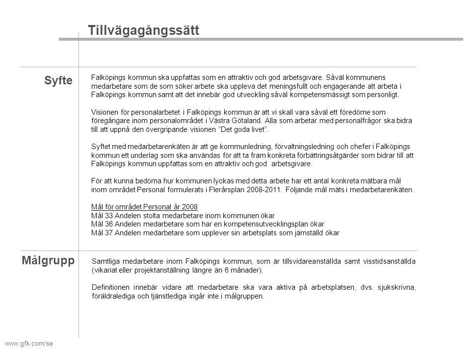www.gfk.com/se Syfte Målgrupp Falköpings kommun ska uppfattas som en attraktiv och god arbetsgivare. Såväl kommunens medarbetare som de som söker arbe