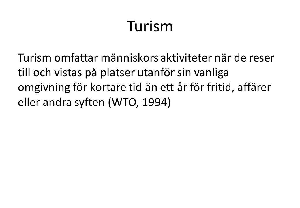Turism Turism omfattar människors aktiviteter när de reser till och vistas på platser utanför sin vanliga omgivning för kortare tid än ett år för fritid, affärer eller andra syften (WTO, 1994)