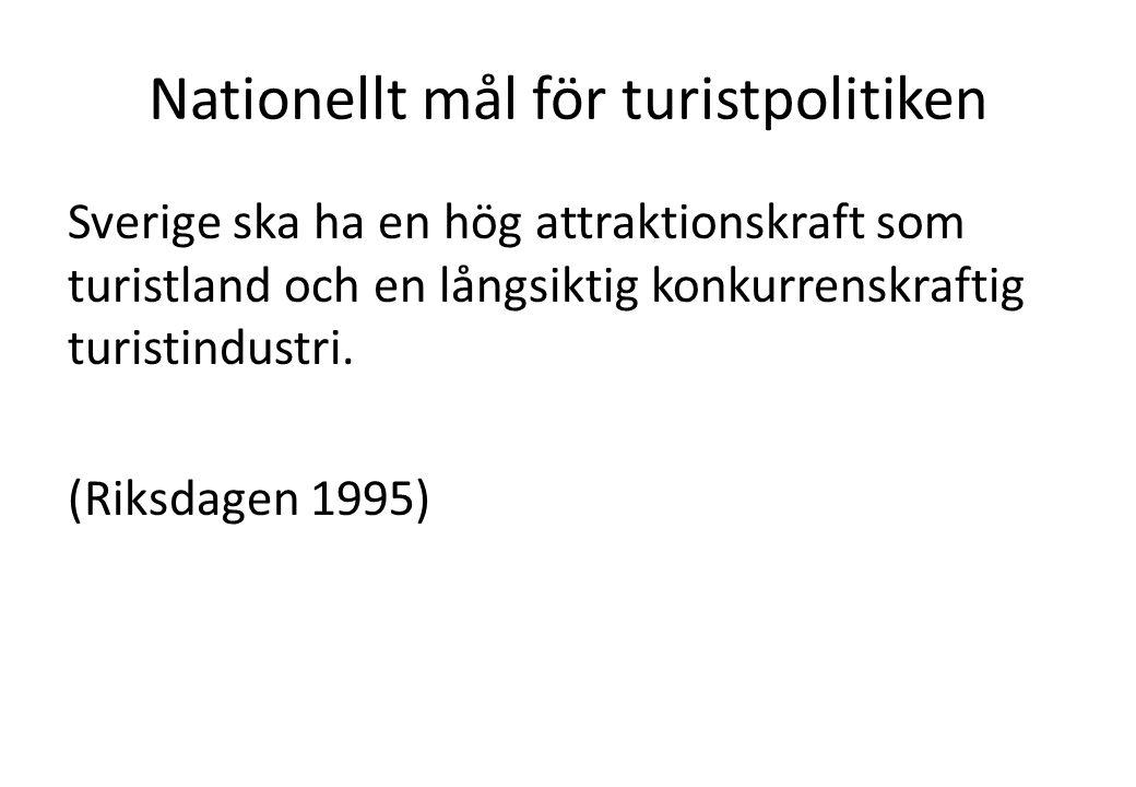 Nationellt mål för turistpolitiken Sverige ska ha en hög attraktionskraft som turistland och en långsiktig konkurrenskraftig turistindustri.