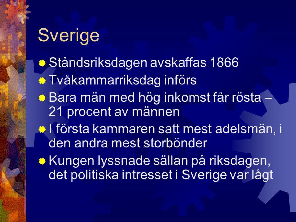 Sverige  Ståndsriksdagen avskaffas 1866  Tvåkammarriksdag införs  Bara män med hög inkomst får rösta – 21 procent av männen  I första kammaren satt mest adelsmän, i den andra mest storbönder  Kungen lyssnade sällan på riksdagen, det politiska intresset i Sverige var lågt