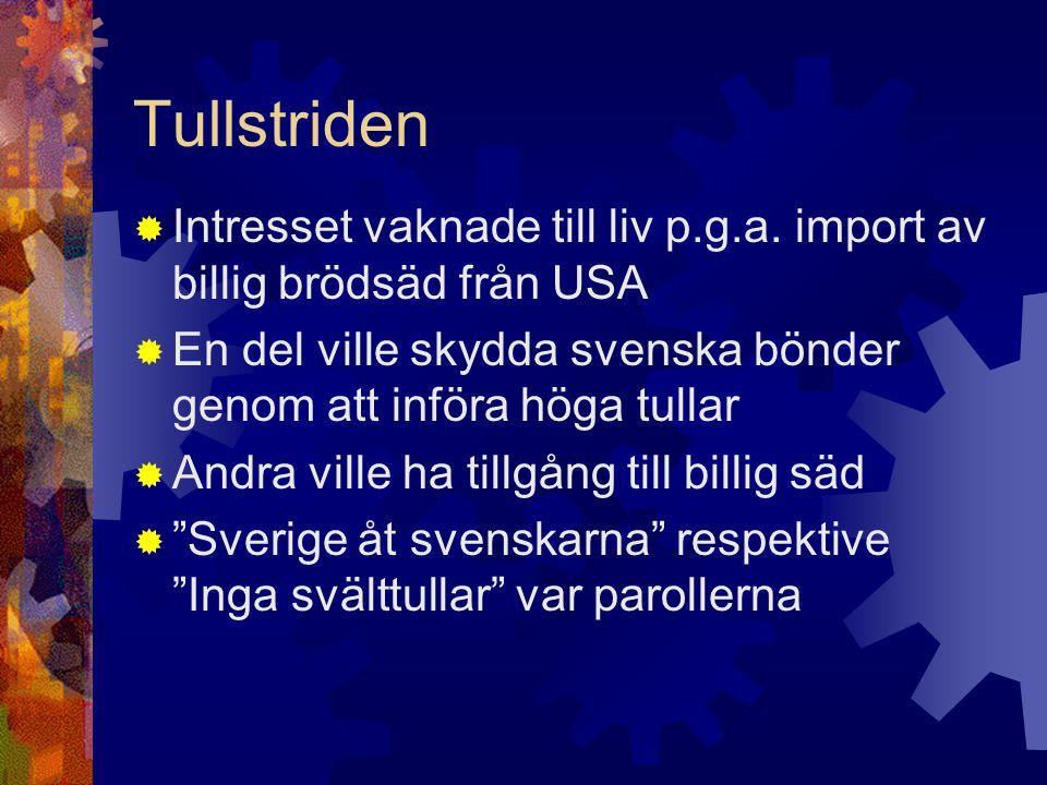 Tullstriden  Intresset vaknade till liv p.g.a. import av billig brödsäd från USA  En del ville skydda svenska bönder genom att införa höga tullar 